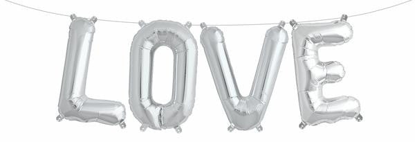 Foil Love Balloons - Silver