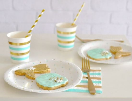 Gold & Mint Stripe Cups
