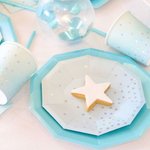 Baby Blue Iridescent Polka Cups