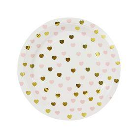 Sweetheart Paper Plates - Gold and Pink