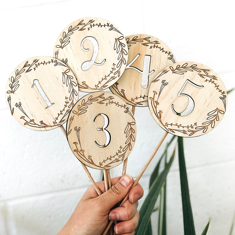 Floral Wreath Number Cake Toppers