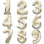 Metallic White Gold Foil Numbers