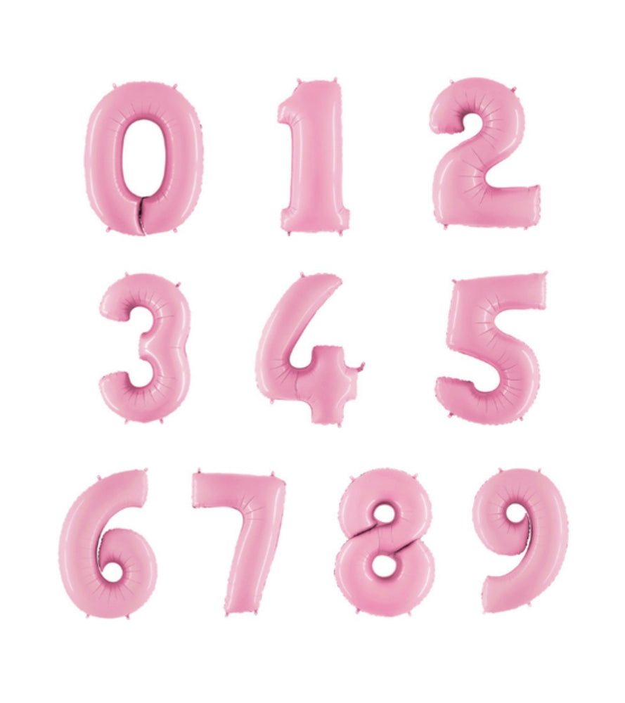 Pastel Pink Foil Numbers