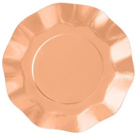 Ruffle Rose Gold Plate -Pack of 10