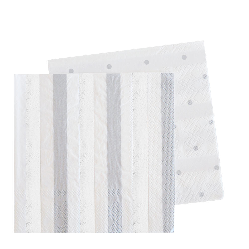 Silver Stripes & Dots Napkin - Pack of 20