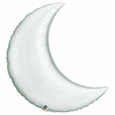 Giant Crescent Moon Foil Balloon - Silver
