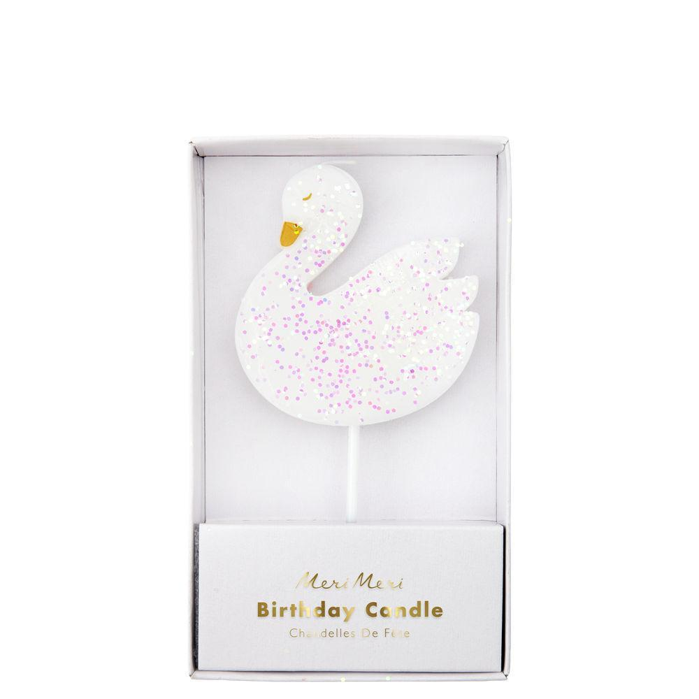 Swan Glitter Candle