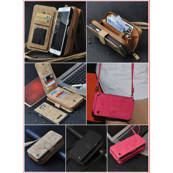 Cross-body Phone Case Wallet with Detachable Shoulder Strap + Wrist Strap for iPhone & Samsung Phones