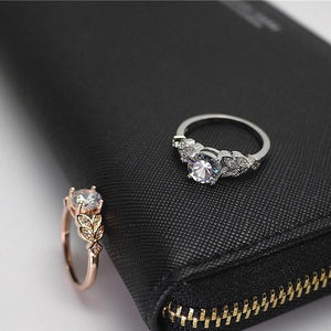 Crystal Centered Floral Ring