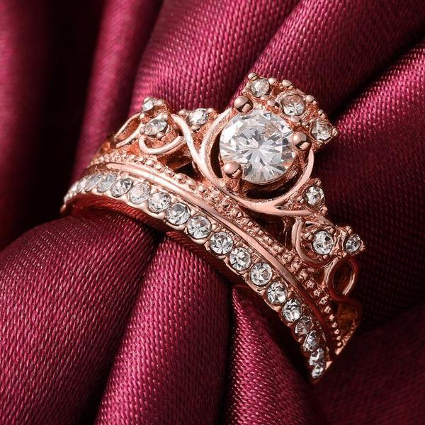 Queen Cut Rose Gold Crystal Ring