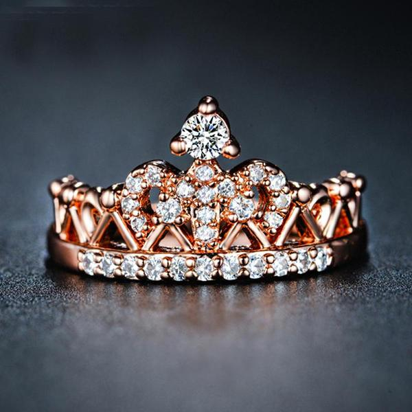 Queen's Rose Gold Crown Ring