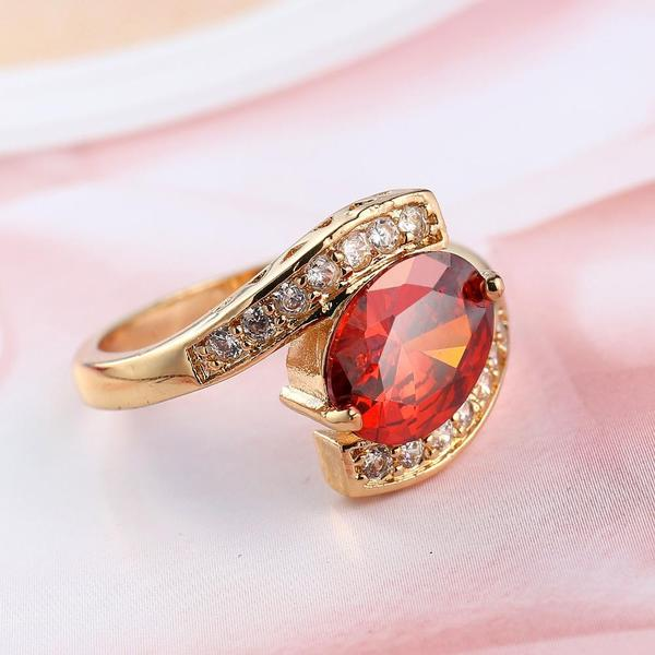 Red Crystal Centered Geometric Ring