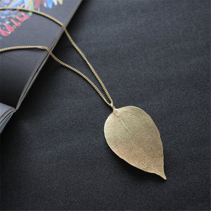 Golden Leaf Necklace - Molded from Real Leaves!