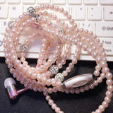 Pearl Necklace Earphones with Microphone