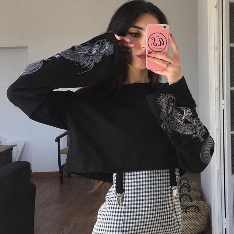 Crop Top with Dragon Printed Oversized Sleeves