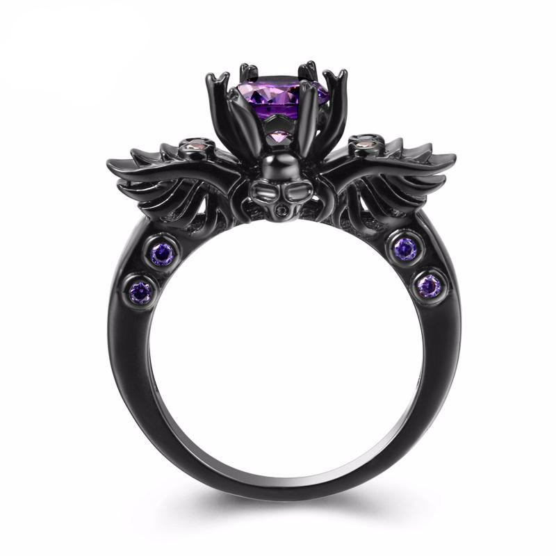Gothic Skull and Wings Ring