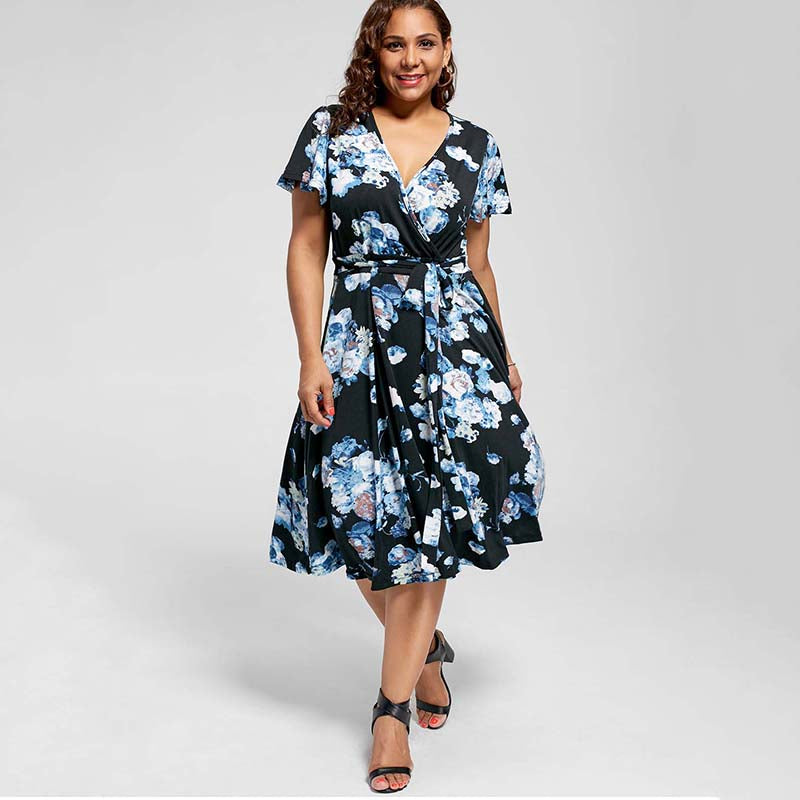 V-Neck Flower Garden Summer Dress