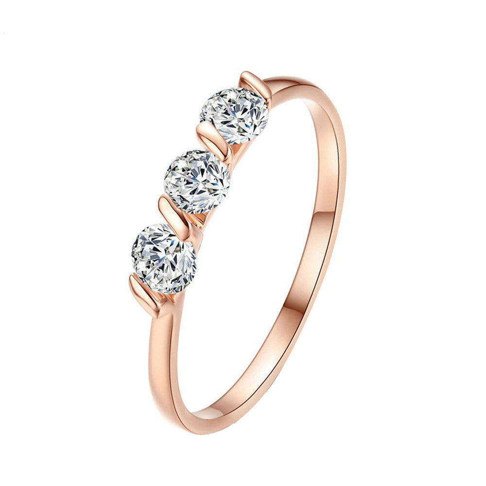 Concise Three Crystal Rose Gold Ring