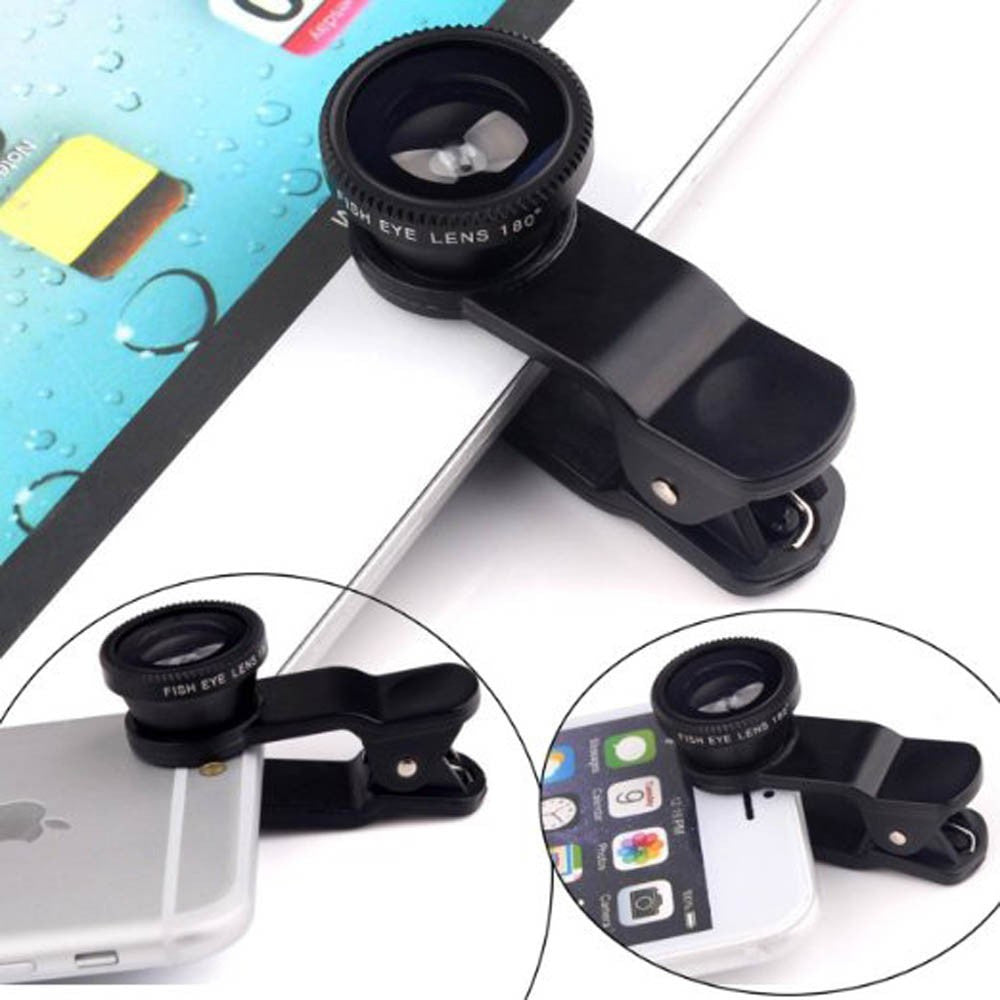 Clip-On Camera Lens Kit for Mobile Phones - Wide Angle Lens, Macro Lens & Fisheye Lens
