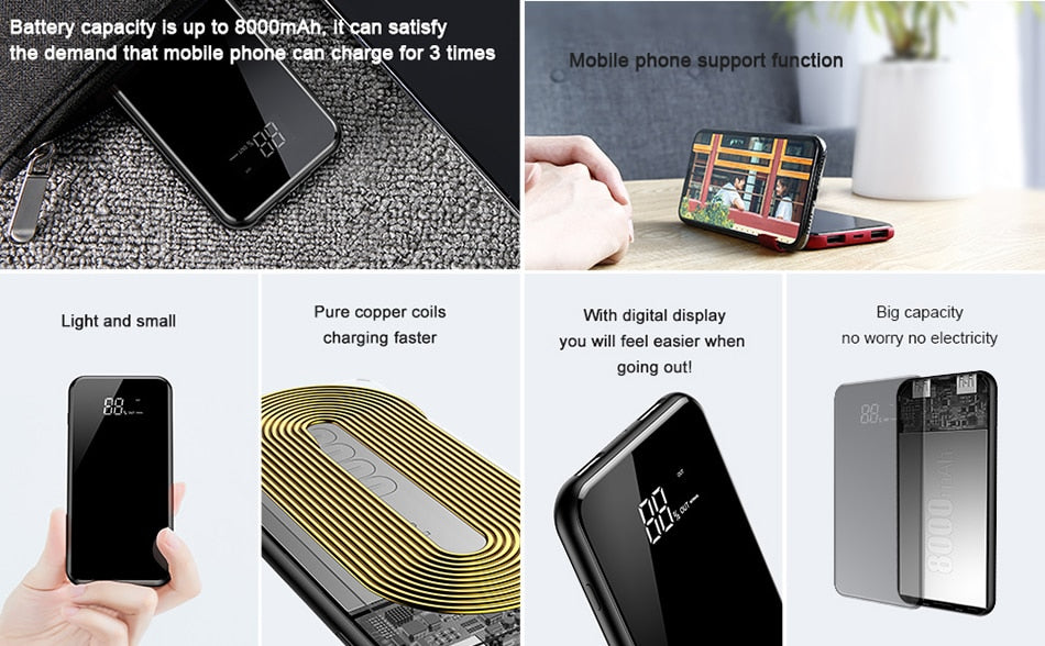 8000mAh Wireless POWER BANK Super Charger for Select iPhone & Samsung Phones