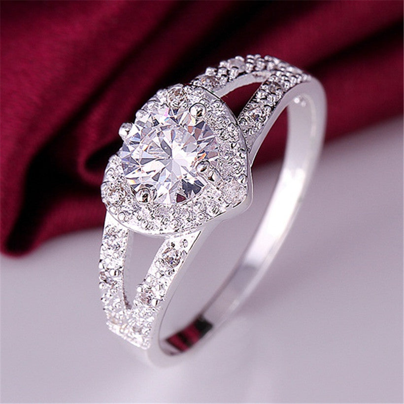 Princess Cut Duplet Band Crystal Heart Ring