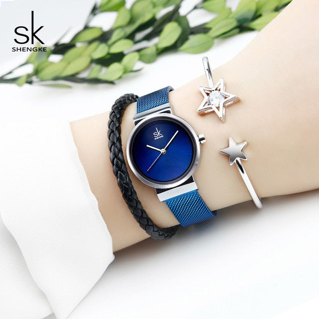 SK™ Stylish Mesh Ladies Watch and Bracelets Set (3 Colors)