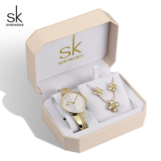 SK™ Crystal Flowers Ladies Watch and Jewelry Set (3 Styles)