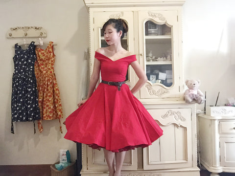 Bardot Off Shoulder Dress worn with Malco Modes' Madeline petticoat