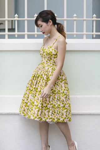 Mandarin Swing Dress In Mustard