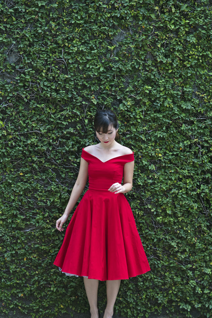 Bardot Off Shoulder Swing Dress In Red