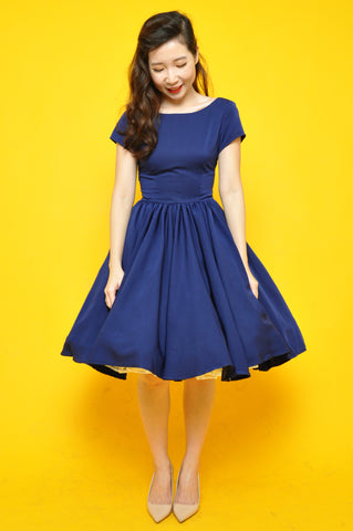 Margaret Toga Dress In Cobalt Blue