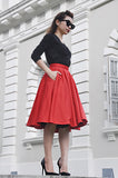 Audrey Swing Skirt In Red - Shopbluebelle - 2