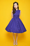 Mandarin Swing Dress In Indigo