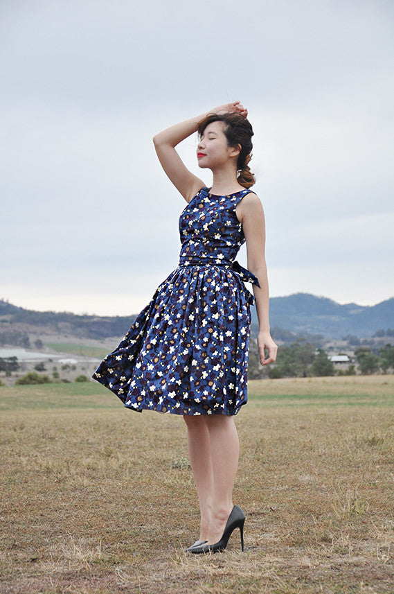 Miyuki Tea Dress in Navy