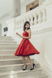 Margaret Toga Dress In Red