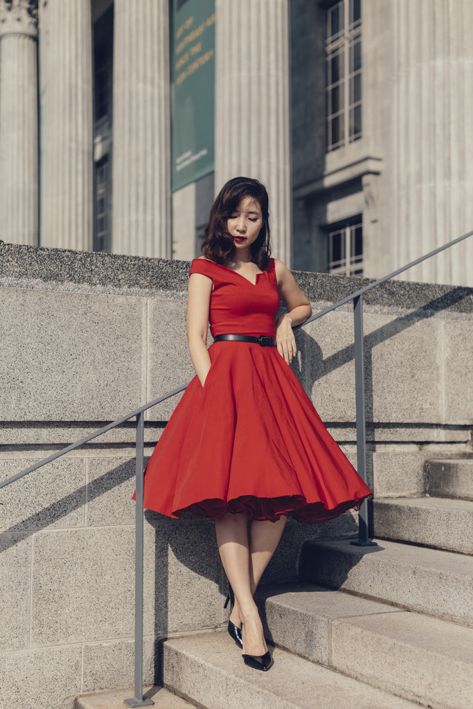 Avice Swing Dress In Red