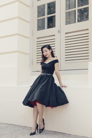 Lady In Black Tea Dress