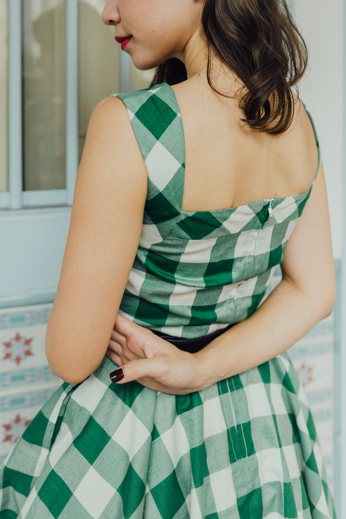 Green Gingham Swing Dress