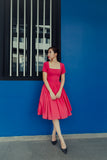 Square neckline hot pink vintage inspired dress with sleeves