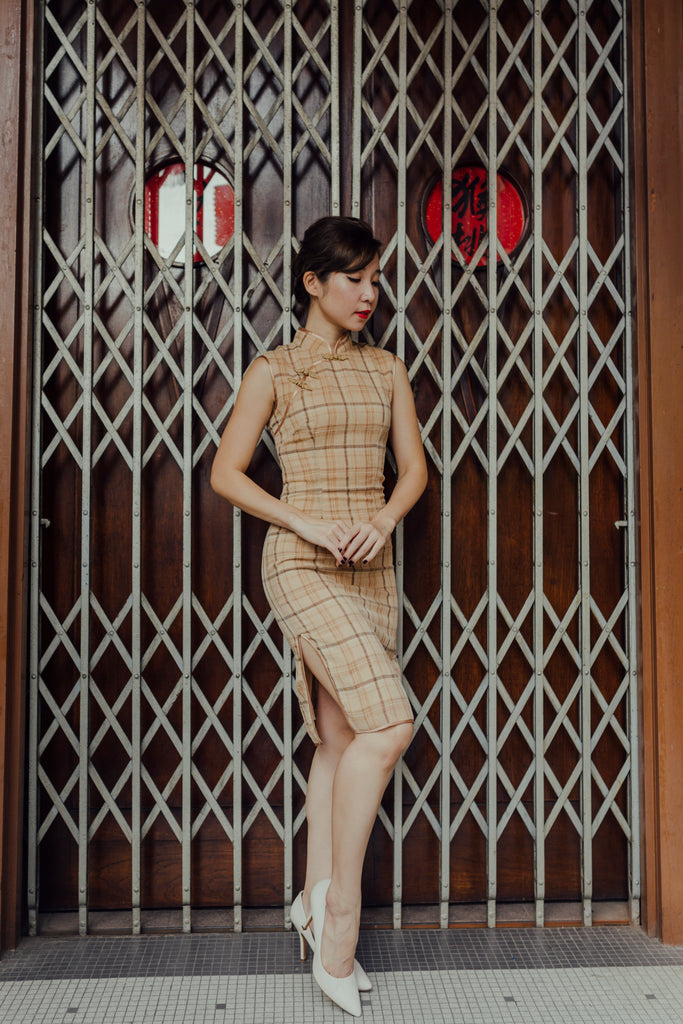 Su Li-Zhen Cheongsam in Sand Plaid