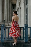 Lanz Inspired Dress in Retro Red