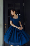 Square neckline navy blue vintage inspired dress with sleeves
