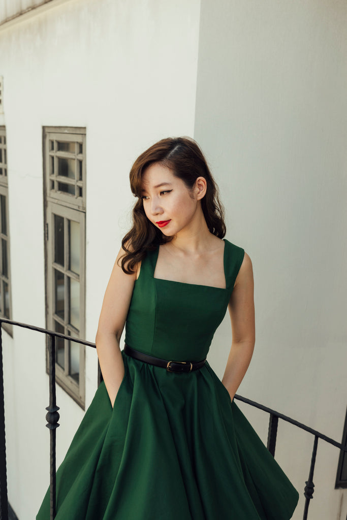 Florence Swing Dress in Emerald