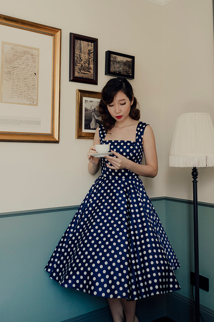 Florence Swing Dress in Navy Polka