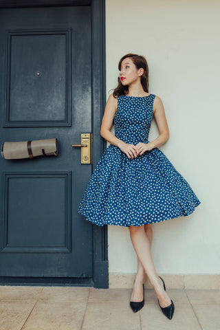 Summer Baby Blue And White Polka Dress