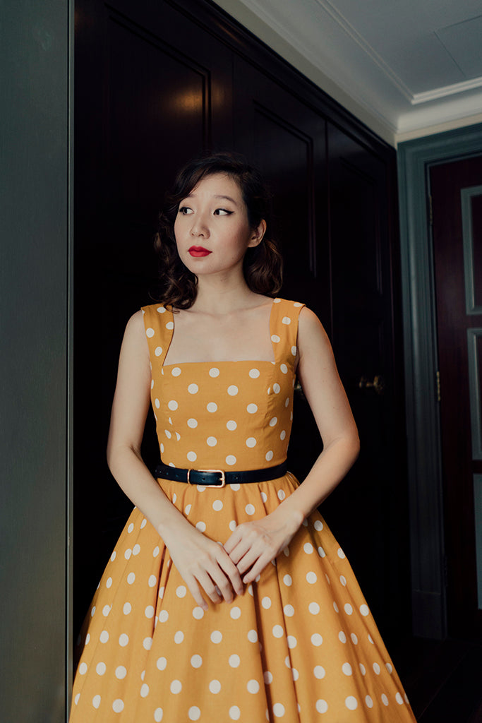 Florence Swing Dress in Marigold Polka