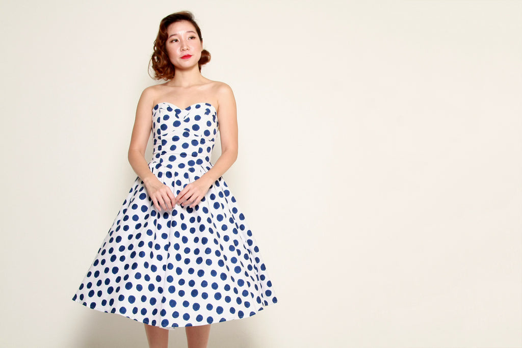 Jane Swing Dress in White & Navy Polka