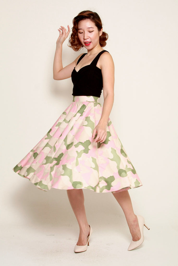Audrey Swing Skirt In Pastel Camouflage