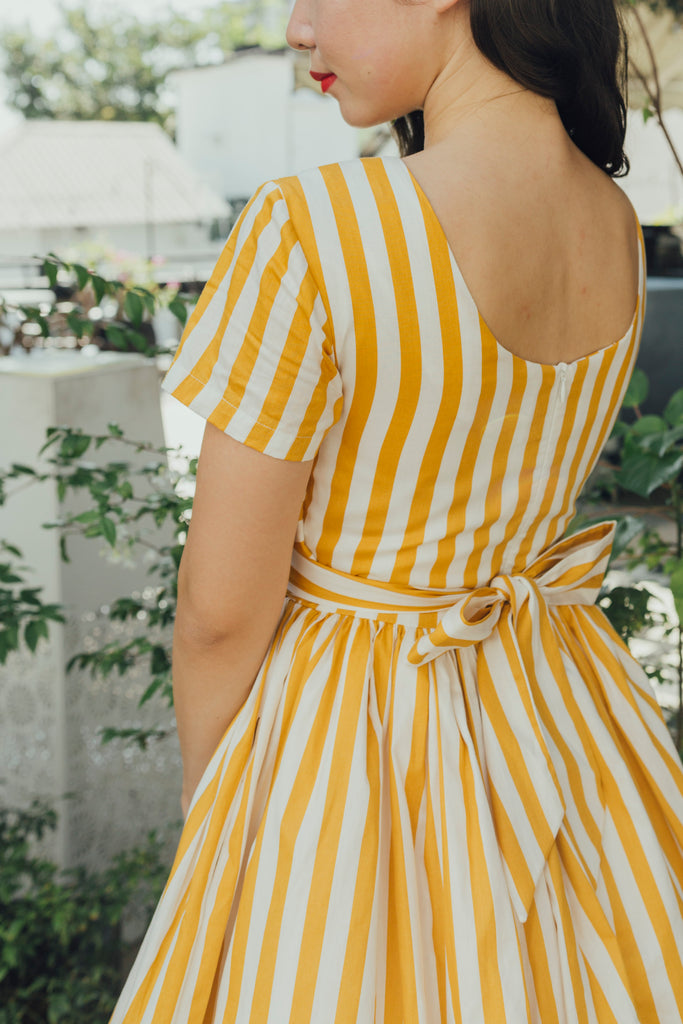 Tweedle Swing Dress in Mustard