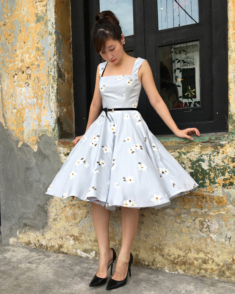 Florence Swing Dress in Gray Floral